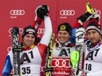 Siegerehrung Slalom 1. Christian Deville (ITAL), 2. Mario Matt (AUT), 3. Ivica Kosttelic (CRO); Photo: Rolex/Stephan Cooper