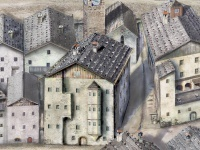 Altes Berggericht 14-16. Jahrhundert. Ansicht um 1620 Alle Rechte Kitzbühel-TV